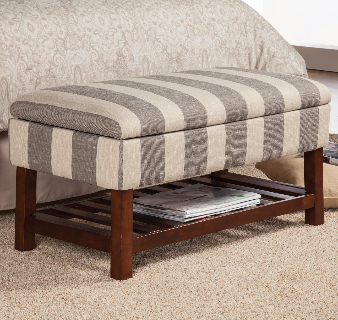 Coaster 500067 Grey Fabric Storage Bench Steal A Sofa Furniture Outlet Los Angeles Ca