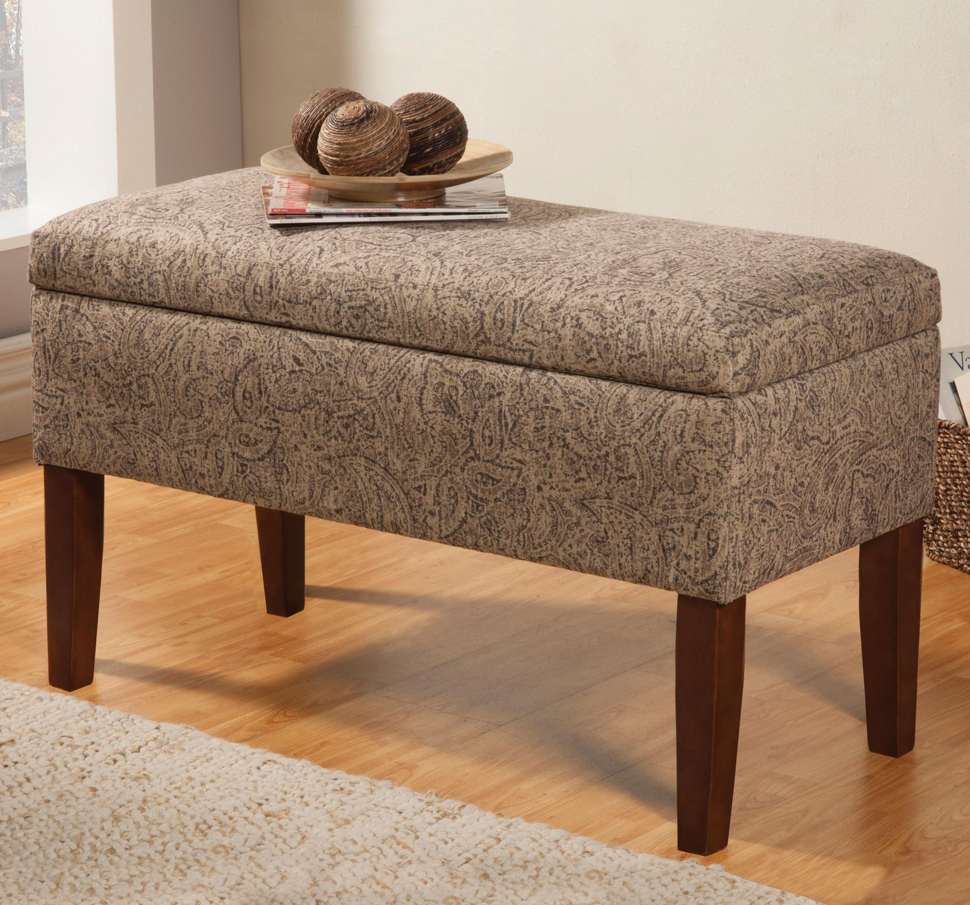 Beige Fabric Storage Bench Steal A Sofa Furniture Outlet