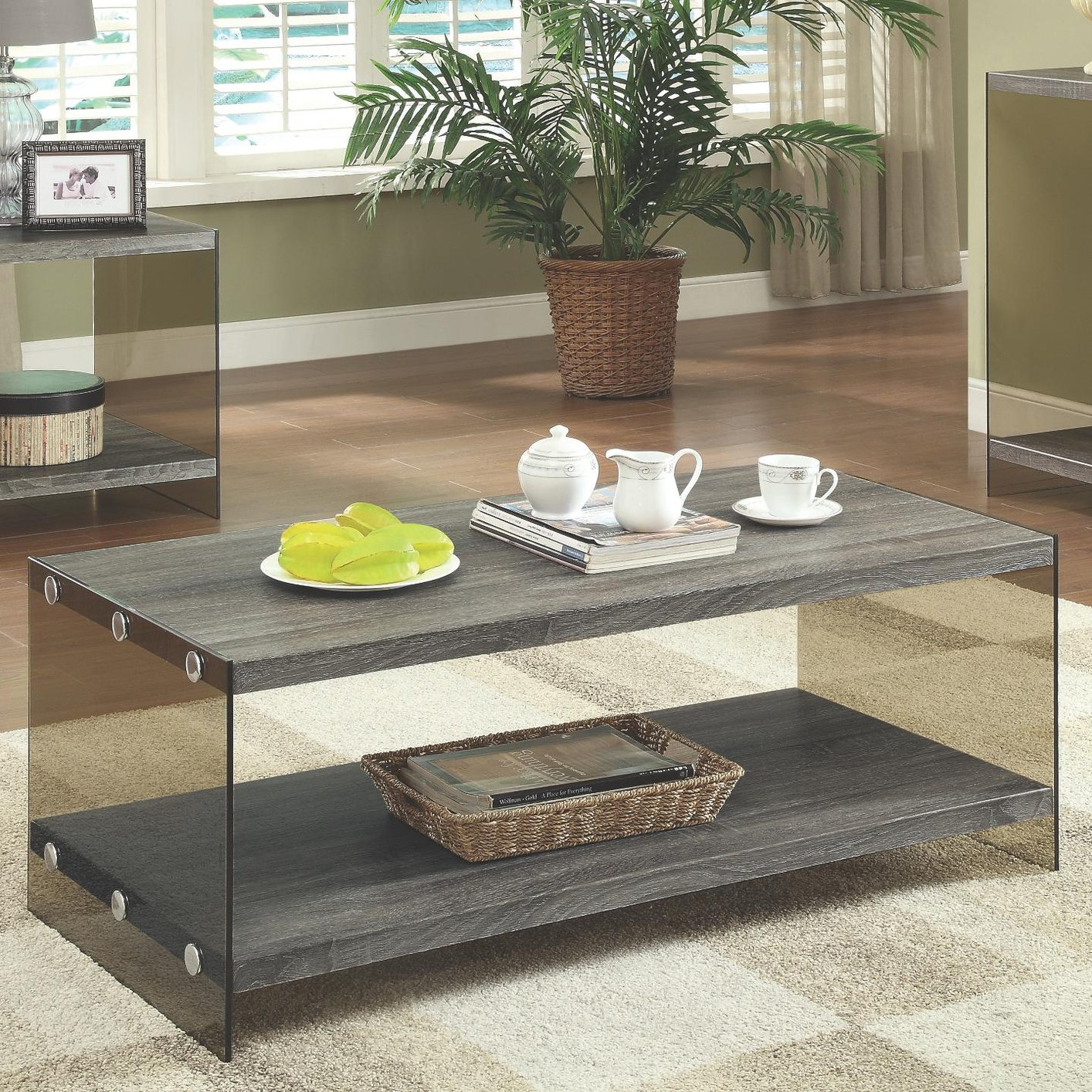 Grey Glass Coffee Table - Steal-A-Sofa Furniture Outlet Los Angeles CA