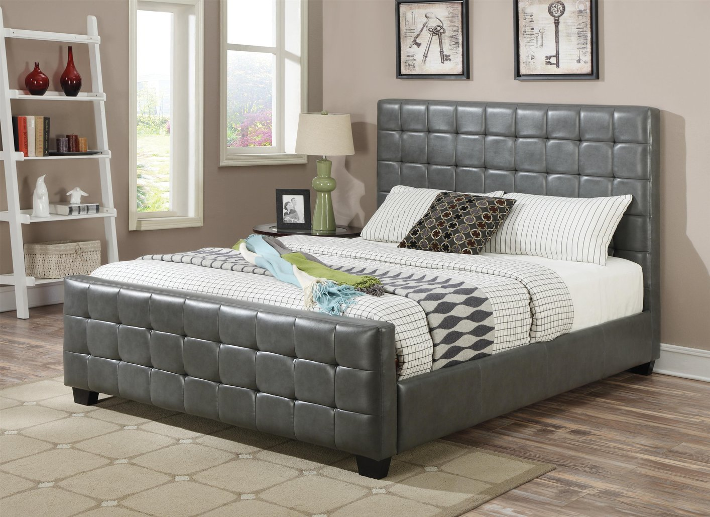 Grey leather california king size bed steal a sofa for Cal king bed size