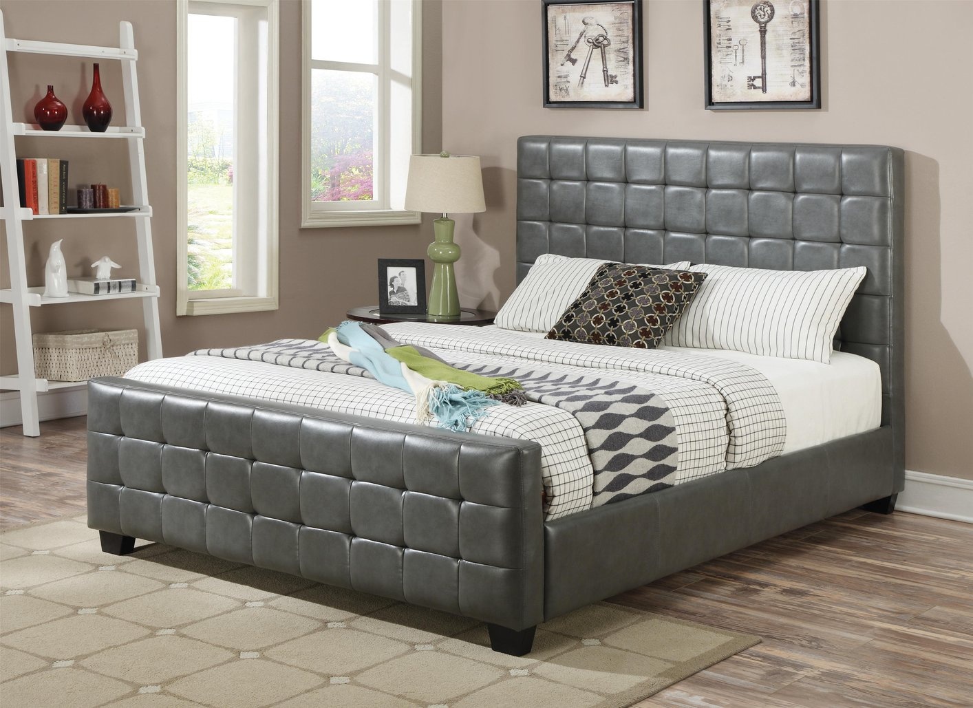 Grey leather eastern king size bed steal a sofa for Grey divan king size bed