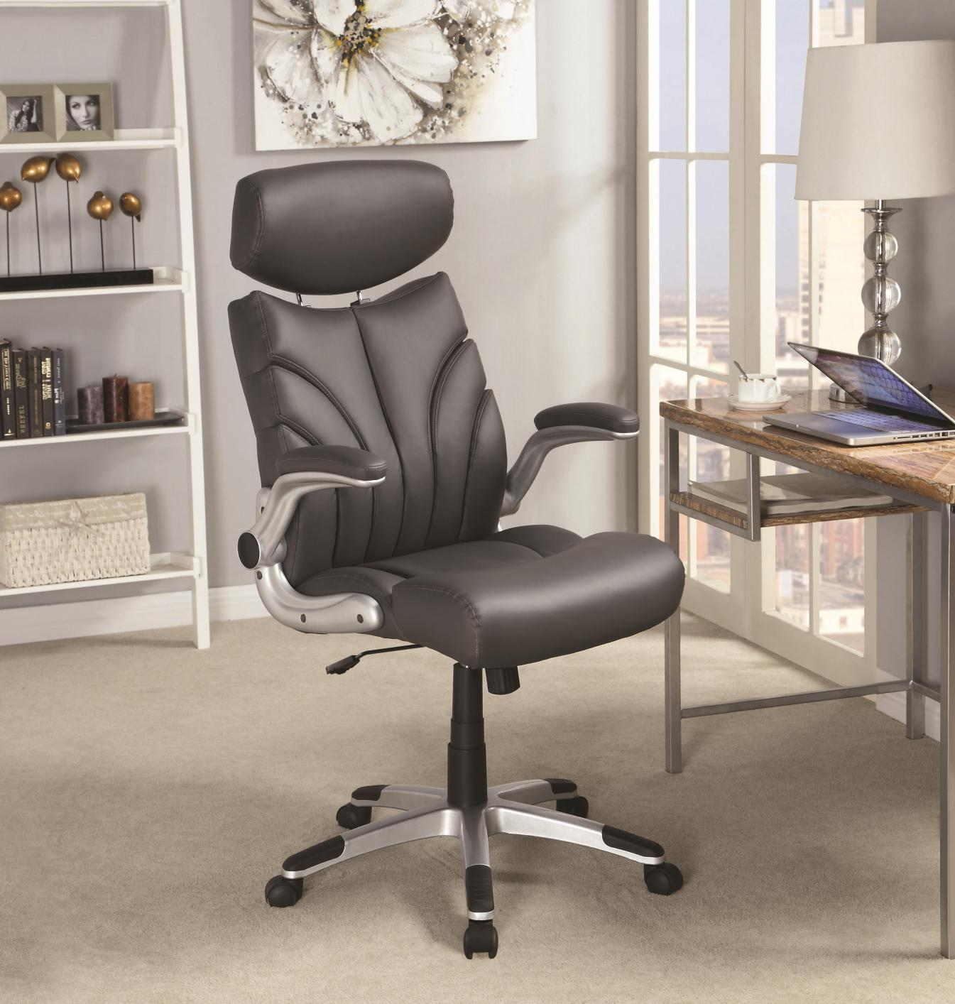 Grey Leather Office Chair Steal A Sofa Furniture Outlet