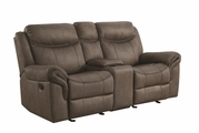 Grey Leather Reclining Loveseat