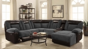 Grey Leather Reclining Sectional