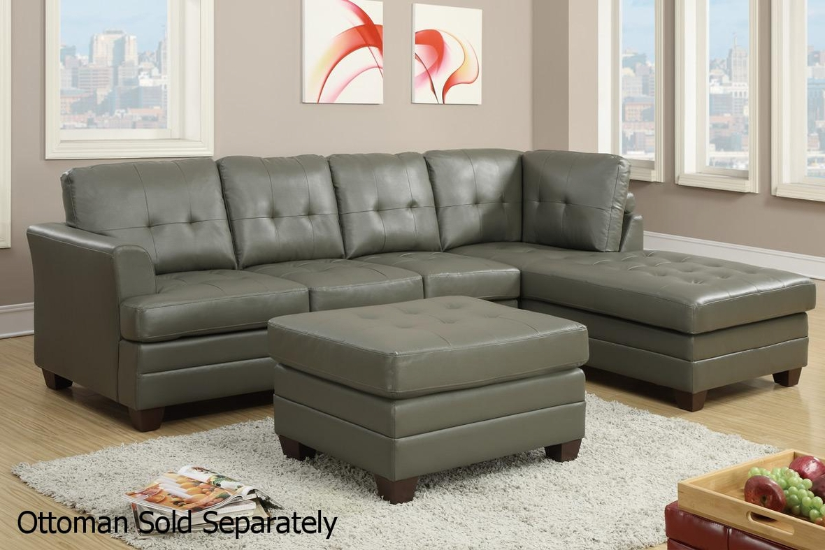 Steal A Sofa Furniture Outlet: Grey Leather Sectional Sofa