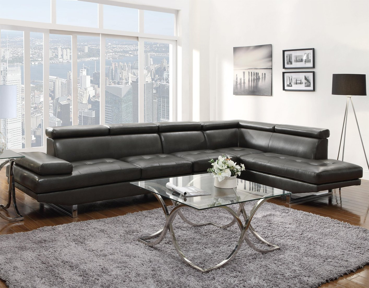 Coaster 503029 Grey Leather Sectional Sofa Steal A Sofa