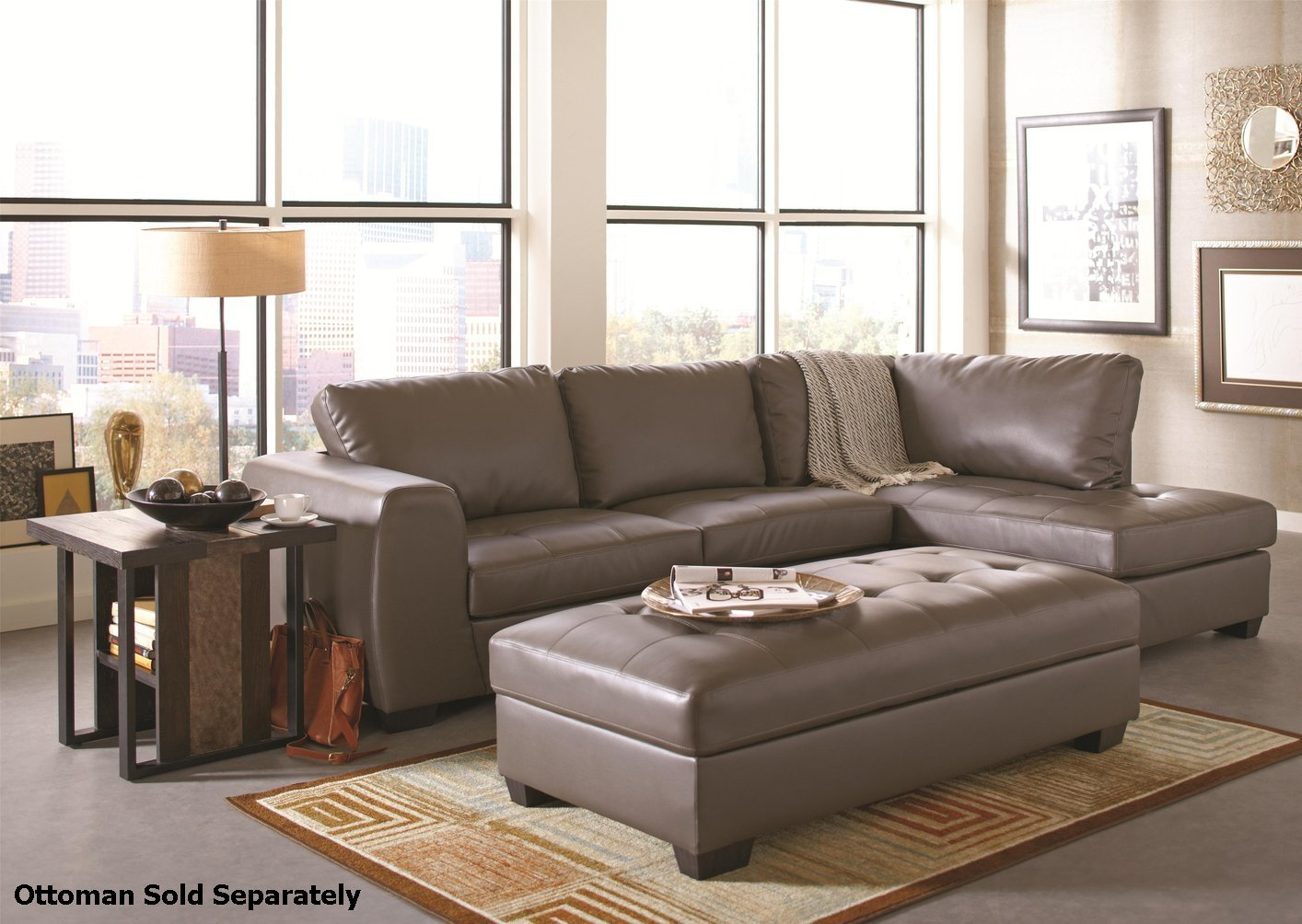 Coaster 500805 Grey Leather Sectional Sofa Steal A Sofa