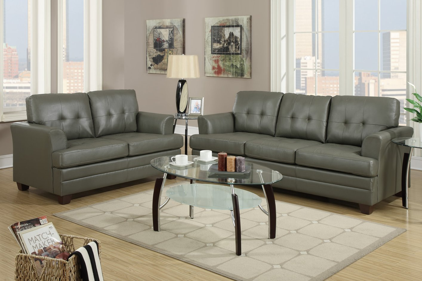 Poundex F7774 Grey Leather Sofa And Loveseat Set Steal A