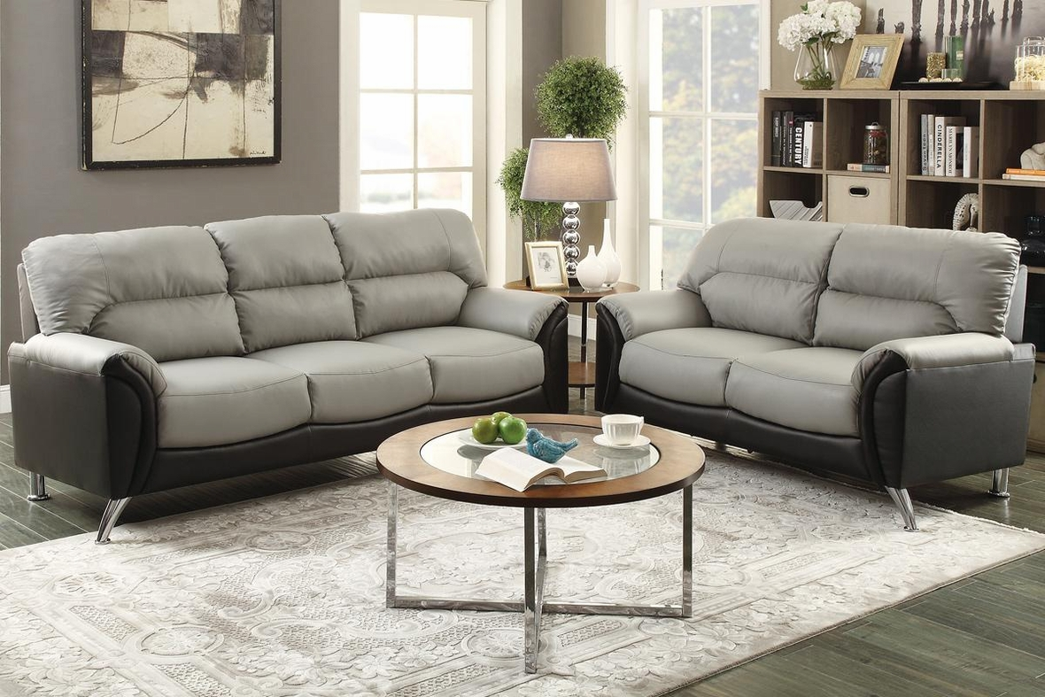 Steal A Sofa Furniture Outlet: Grey Leather Sofa And Loveseat Set