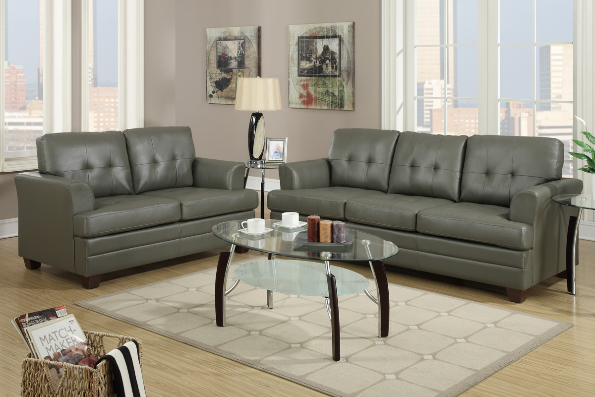 Beautiful Grey Leather Sofa And Loveseat Set