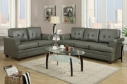 Grey Leather Sofa and Loveseat Set