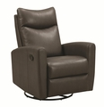 Grey Leather Swivel Recliner