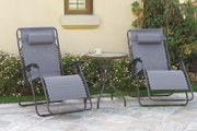 Grey Metal 3pc Outdoor Lounger Set