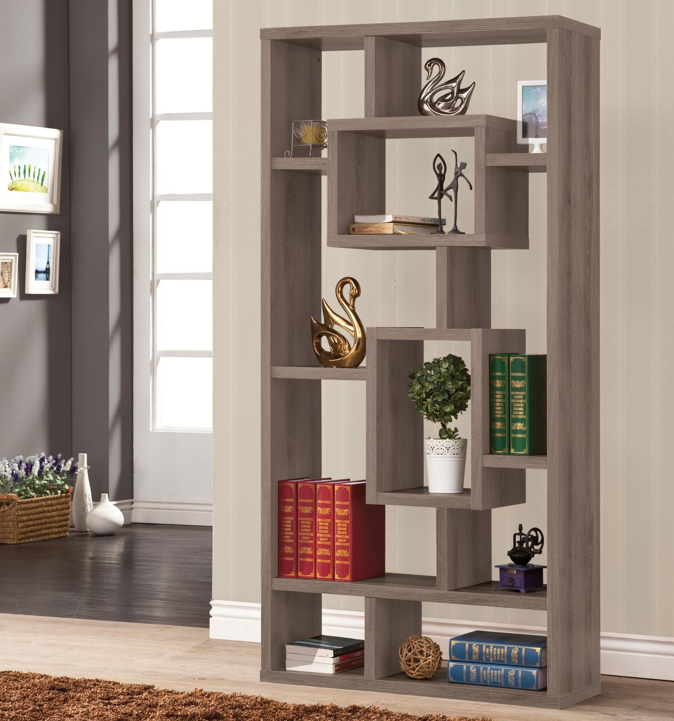 Grey Wood Bookcase