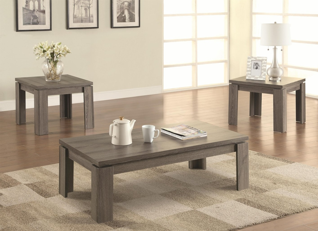Coaster 701686 Grey Wood Coffee Table Set Steal A Sofa Furniture Outlet Los Angeles Ca