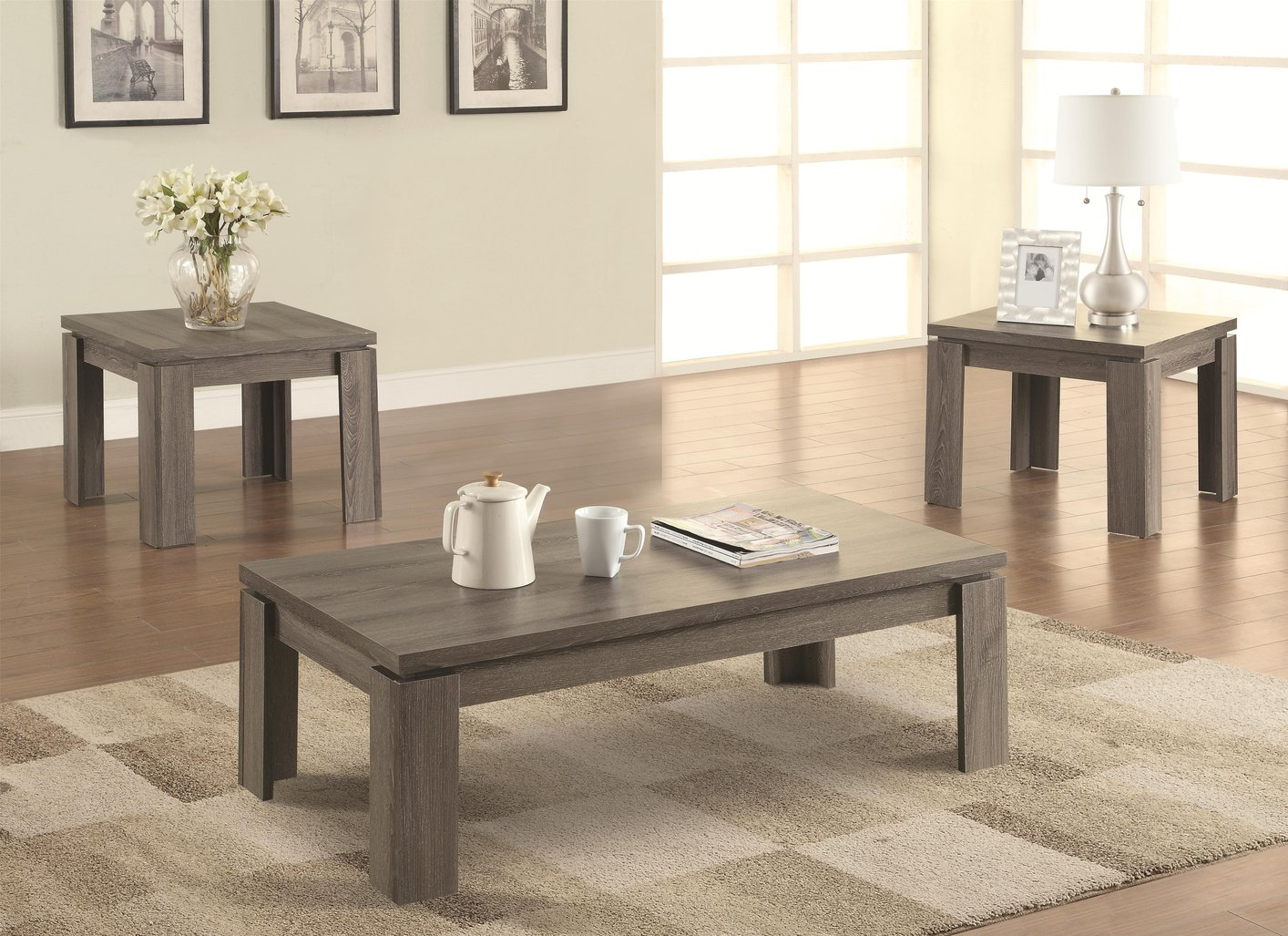 Grey wood coffee table set steal a sofa furniture outlet for Gray wood and metal coffee table