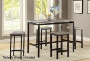 Grey Wood Dining Table and Chair Set