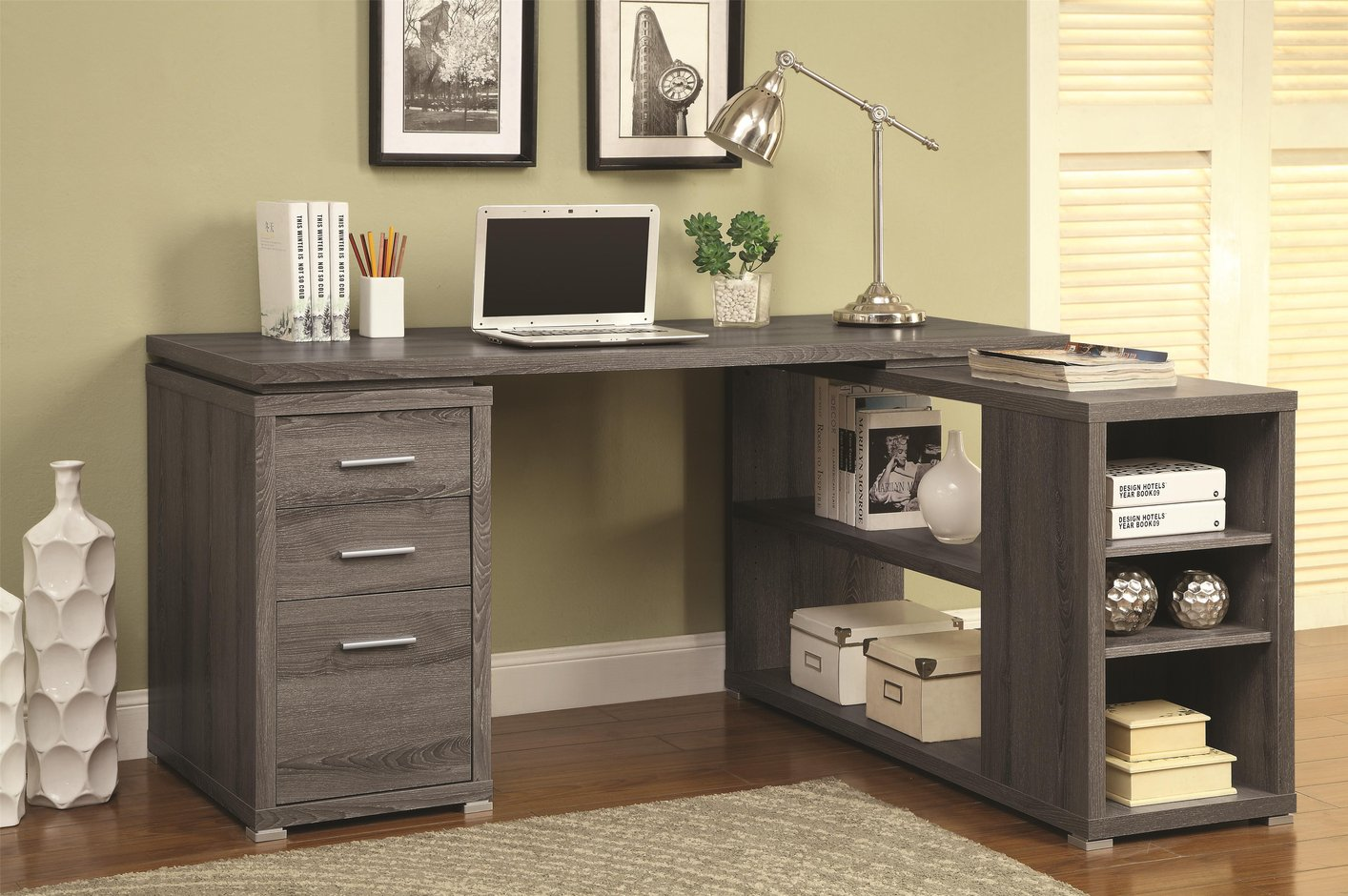 desk home chic office with furniture motif light rustic pine chair and typical designed simple gray for wood desks shelf of legs padded the
