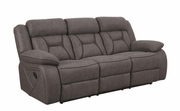 Grey Wood Reclining Loveseat