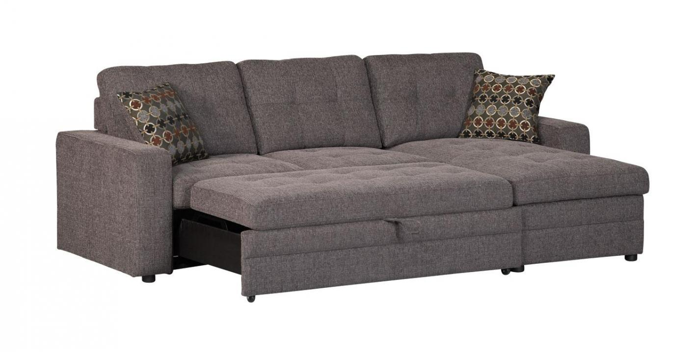 Gus black fabric sectional sleeper sofa steal a sofa for Black fabric couches