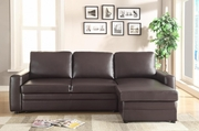 Gus Brown Leather Sectional Sofa