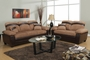 Gabe Beige Leather Sofa and Loveseat Set with Storage