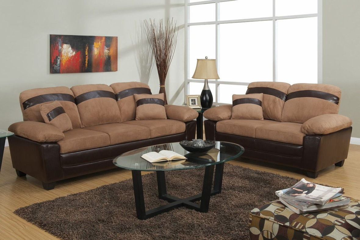 Poundex gabe f7573 saddle fabric sofa and loveseat set with storage Microfiber sofa and loveseat set