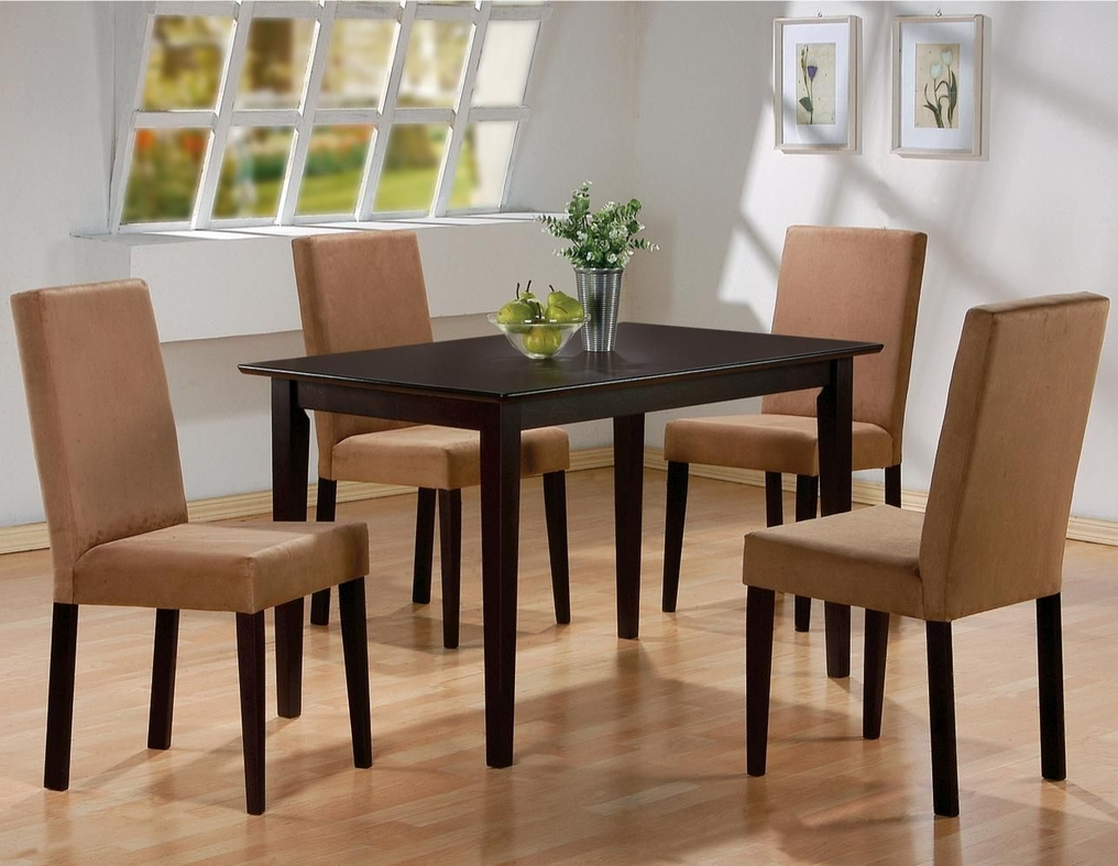 Hanna cappuccino wood dining table set steal a sofa for Table hanna
