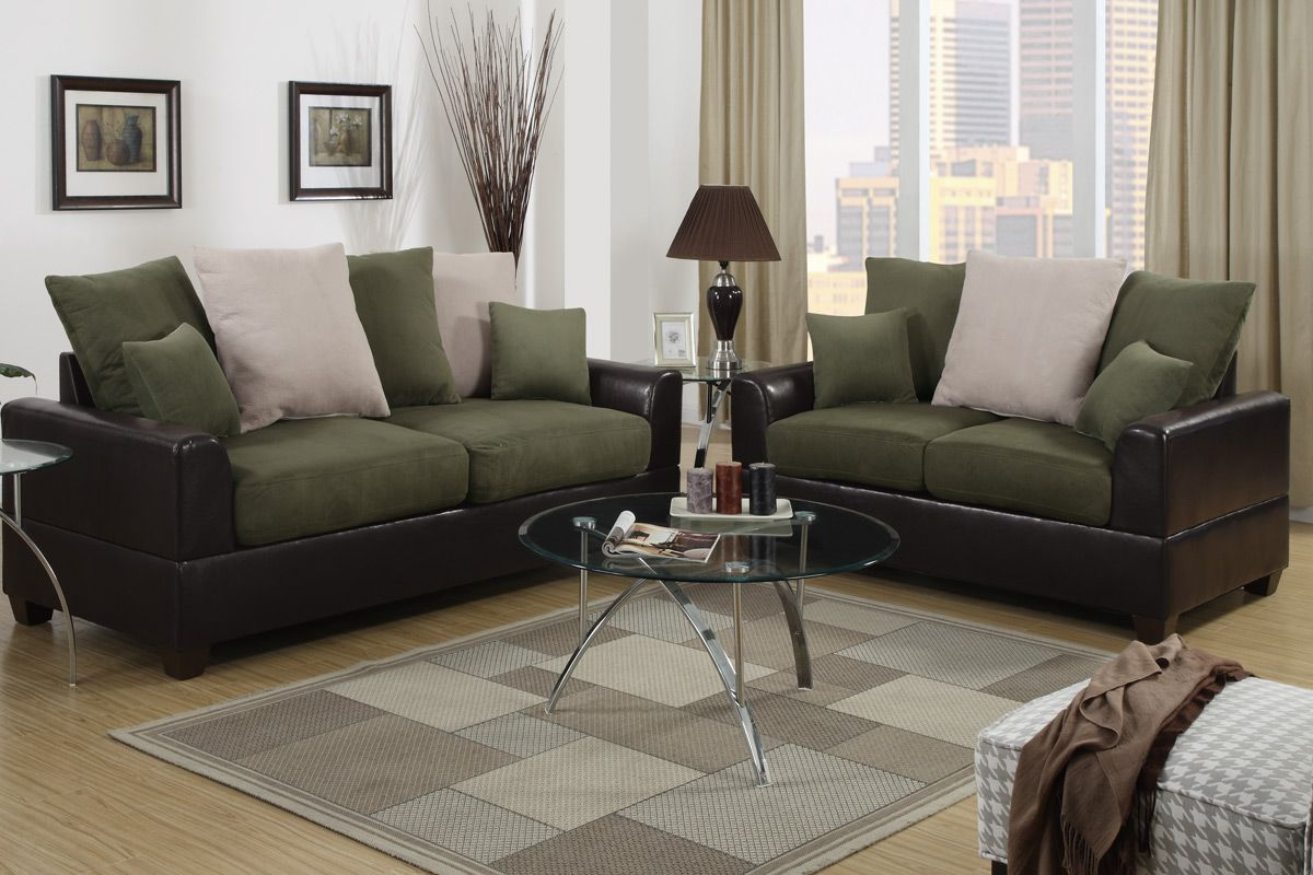 Awesome Harlow Espresso And Green Microfiber Sofa And Loveseat Set