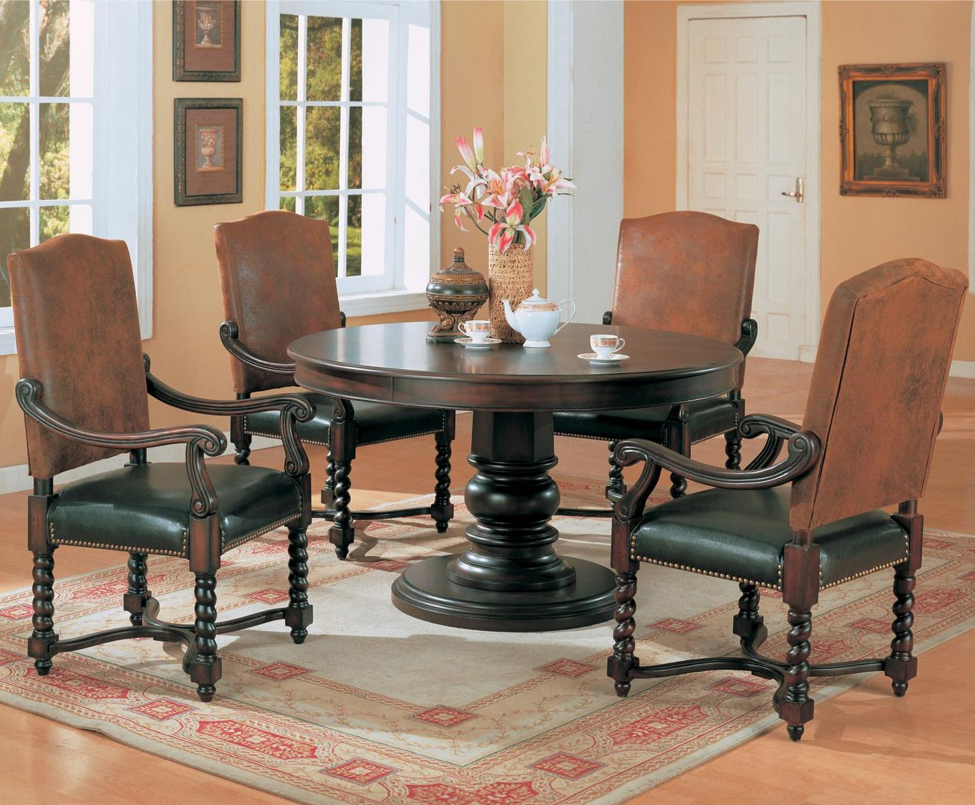 Jofran prospect creek wood counter height dining table in for Dark hardwood dining table