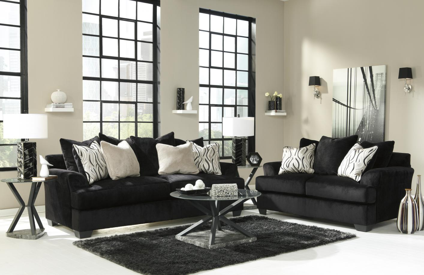 Signature Design By Ashley Heflin 4720038 4720035 Black Fabric Sofa And Loveseat Set Steal A