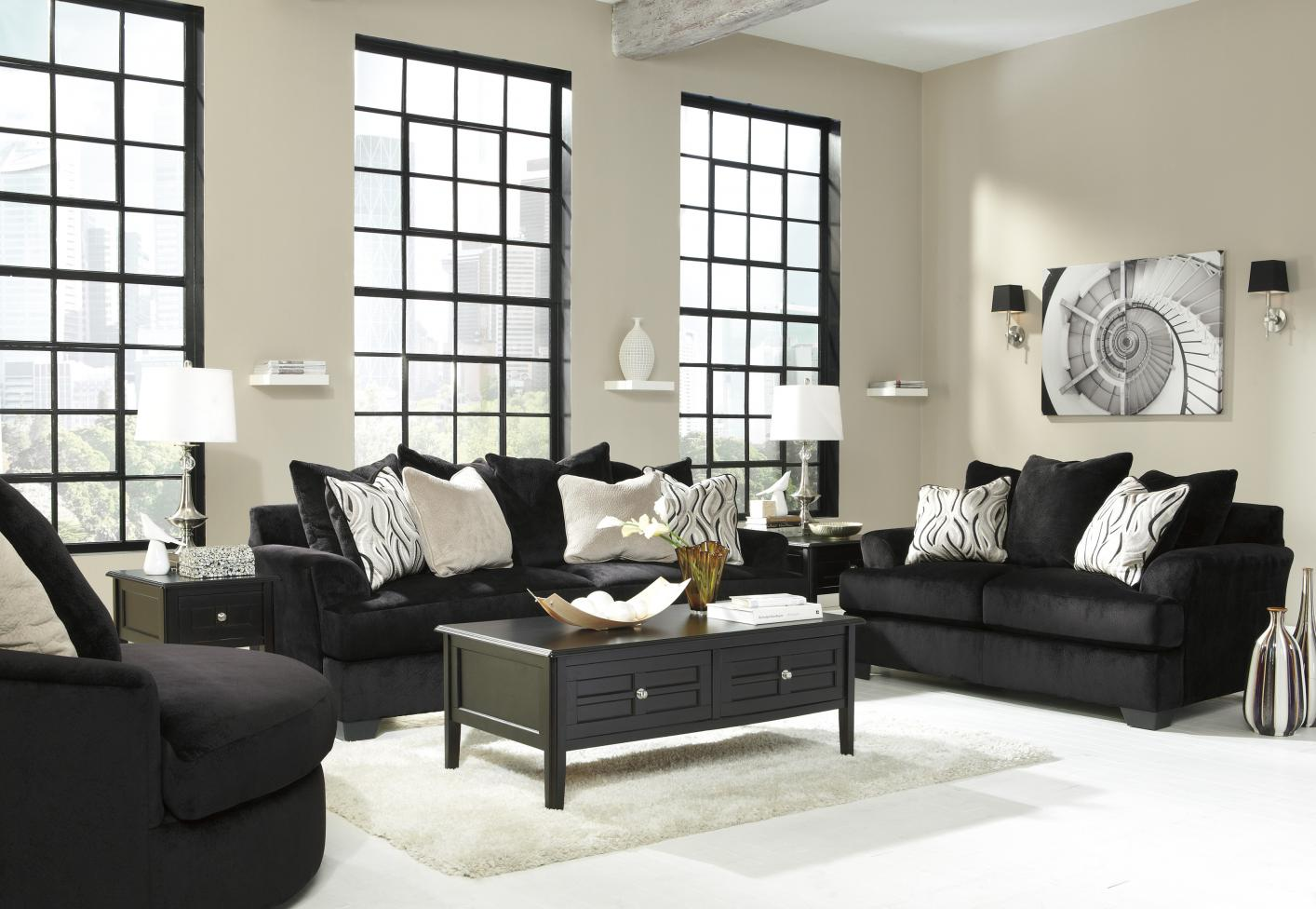 Heflin Black Fabric Sofa and Loveseat Set - Steal-A-Sofa Furniture ...