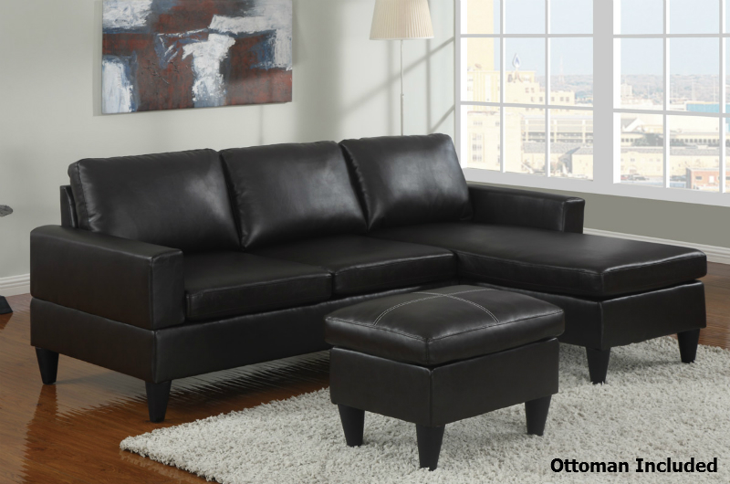 Beau Piccio Black Leather Sectional Sofa And Ottoman