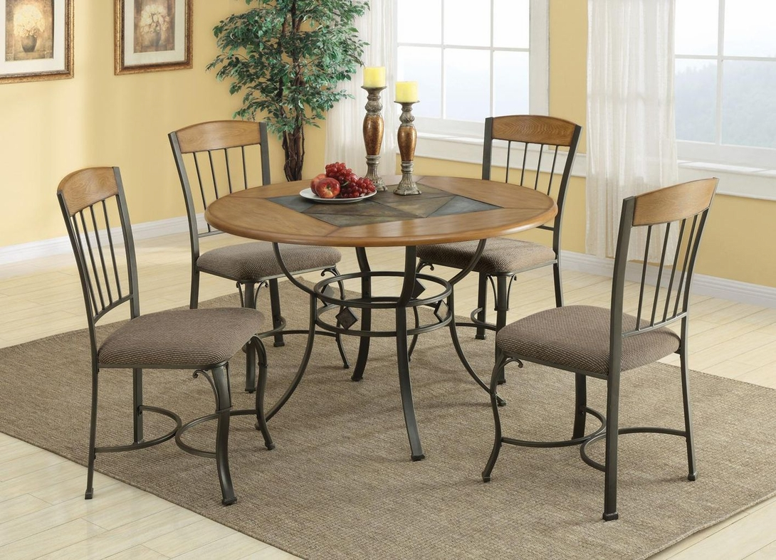 coaster hilda 120771 120772 brown metal and wood dining table set in los angeles ca. Black Bedroom Furniture Sets. Home Design Ideas