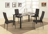 Hobson Black Metal And Glass Dining Table Set