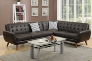 Honig Brown Leather Sectional Sofa