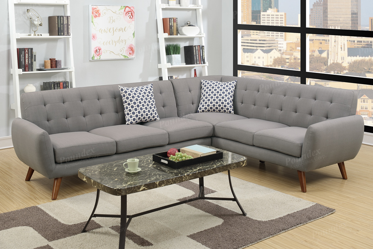 Honig Grey Fabric Sectional Sofa