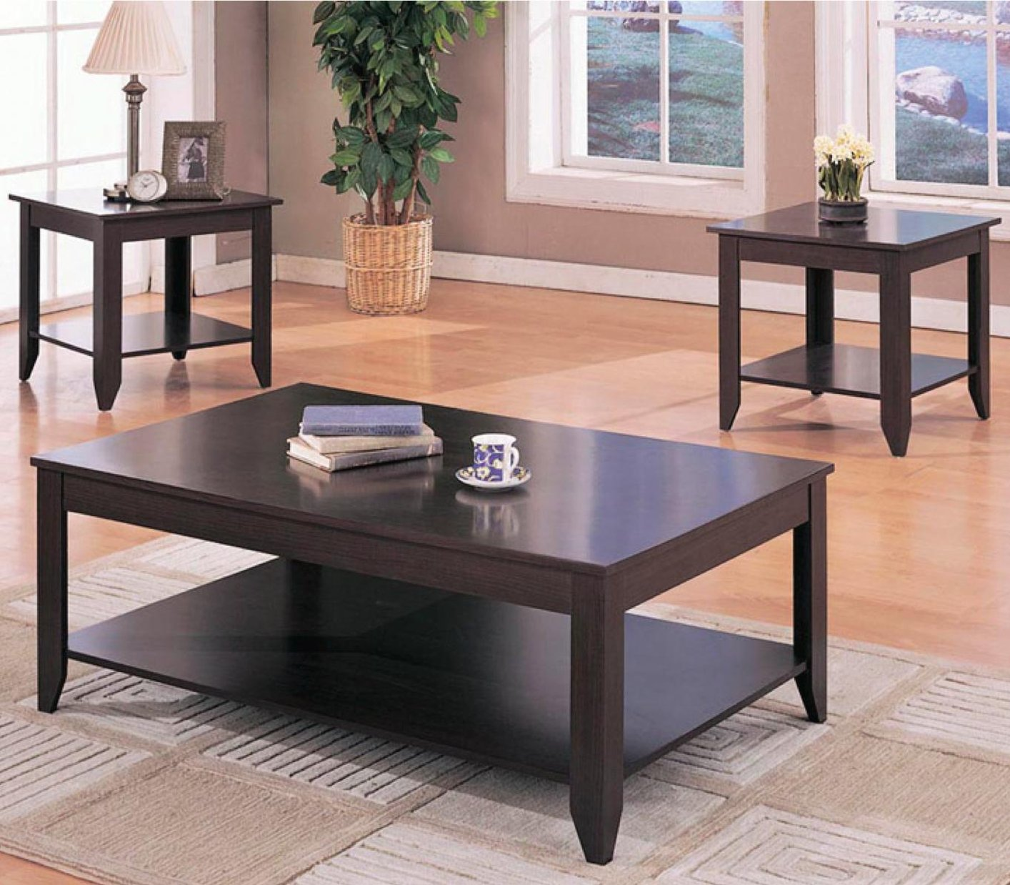 Glass Coffee Tables Durban: Brown Wood 3pc Coffee Table Set