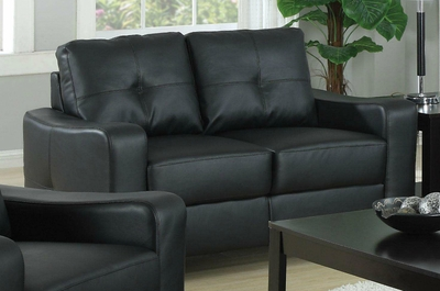 Jasmine Black Leather Loveseat