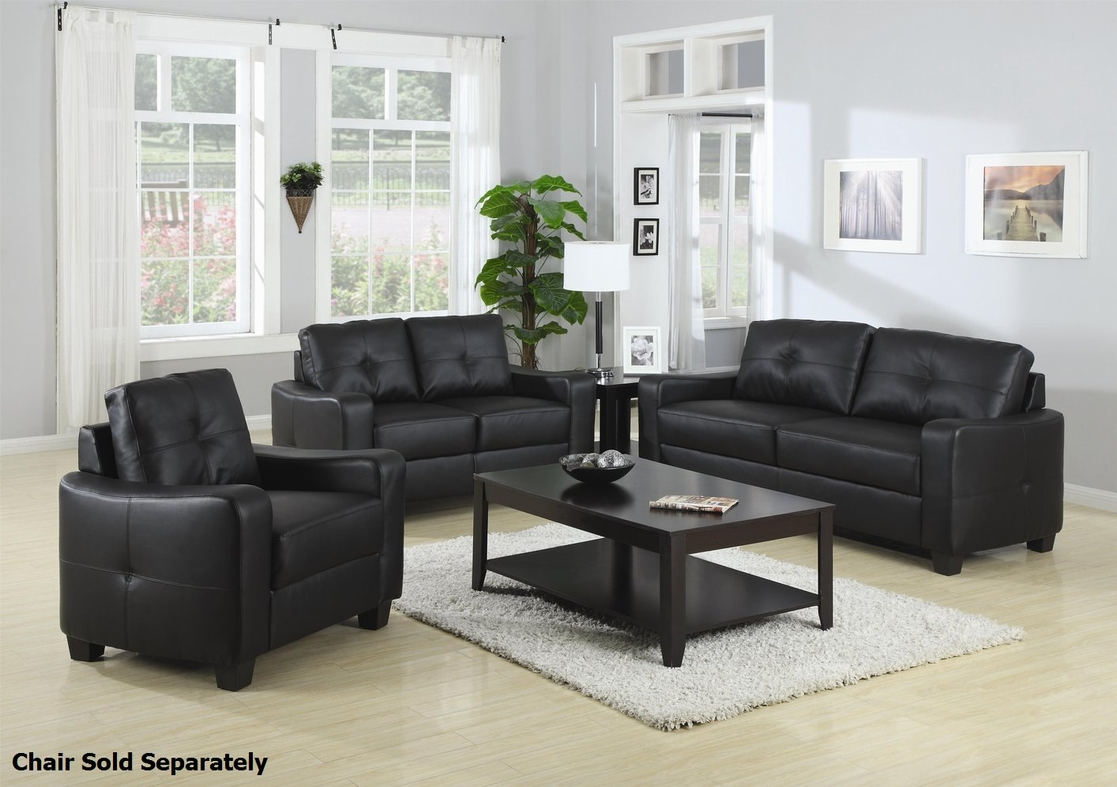 Coaster jasmine 502721 502722 black leather sofa and for Leather sofa and loveseat set