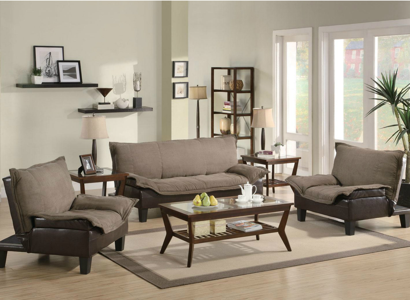 Jean Brown Microfiber Sofa And Loveseat Set Steal A Sofa Furniture Outlet Los Angeles Ca