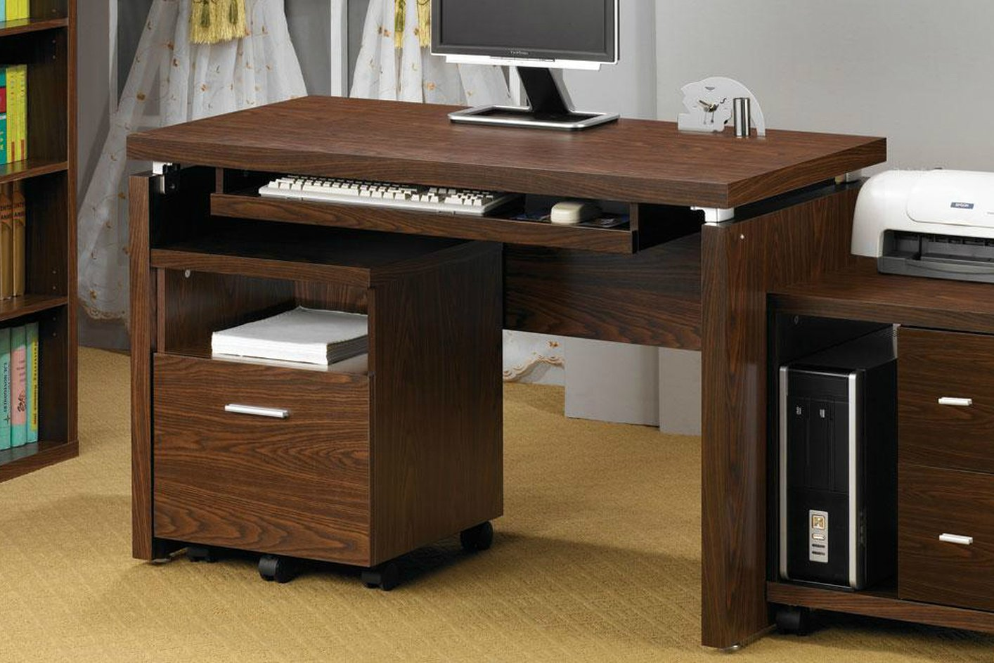 coaster 800831 brown wood computer desk steal a sofa. Black Bedroom Furniture Sets. Home Design Ideas