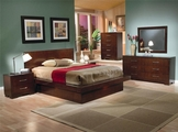 Jessica Light Cappuccino Wood Eastern King Bed Set