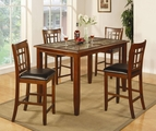 Jonesboro Rich Cherry Wood And Marble Pub Table Set