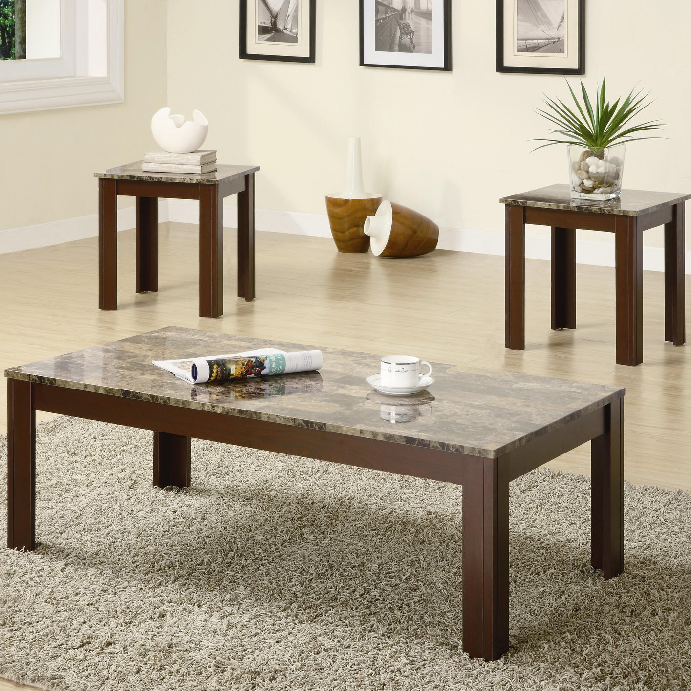 Coaster Jovana Brown Marble Coffee Table Set Steal A Sofa