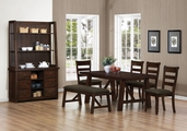Julius Rustic Walnut Wood Dining Table Set