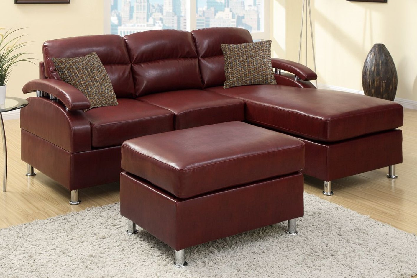 Poundex kade f7686 red leather sectional sofa and ottoman for Red leather sectional sofa with ottoman