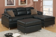 Kade Black Metal Sectional Sofa and Ottoman