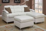 Kade White Metal Sectional Sofa and Ottoman