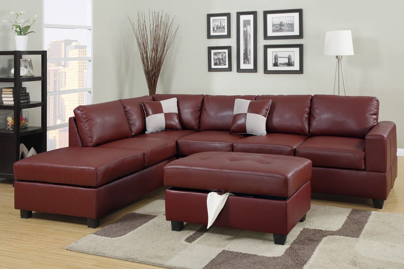 Merveilleux April Red Leather Sectional Sofa And Ottoman